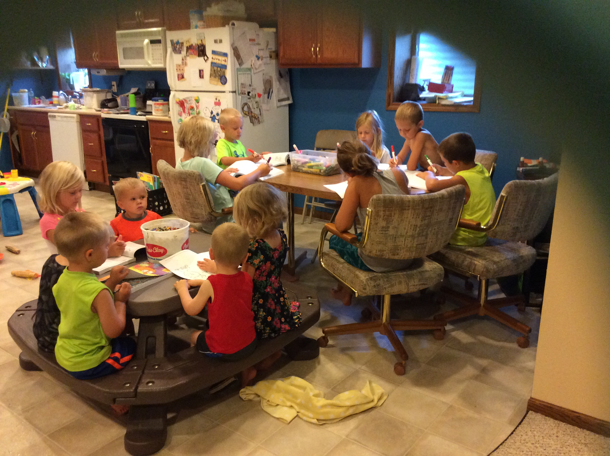 coloring book day at kleindls daycare 2016